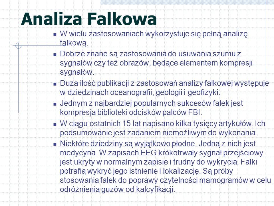 Analiza Falkowa W wielu zastosowaniach wykorzystuje się pełną analizę falkową. Dobrze znane są zastosowania do usuwania szumu z sygnałów czy też obraz