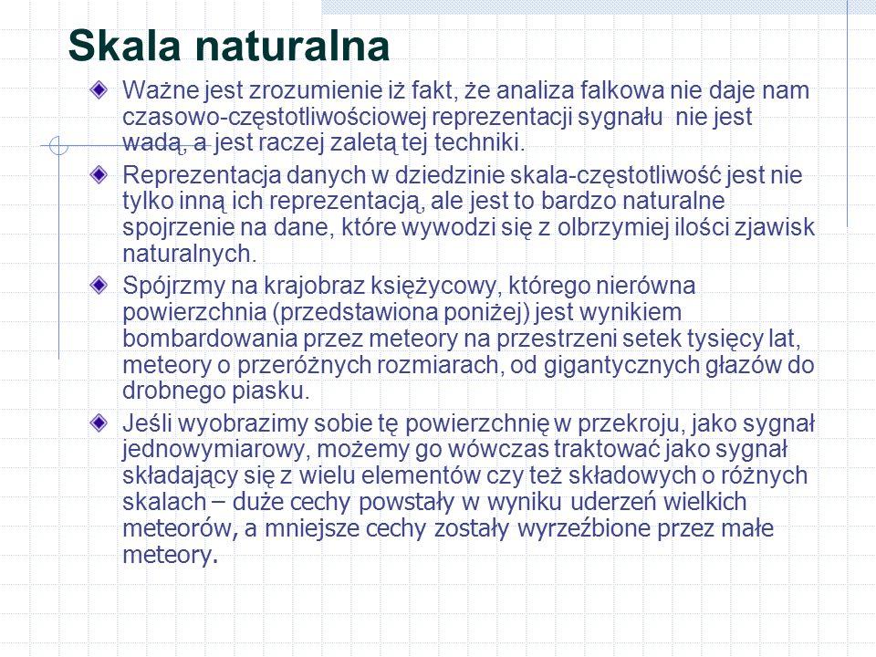 Skala naturalna Ważne jest zrozumienie iż fakt, że analiza falkowa nie daje nam czasowo-częstotliwościowej reprezentacji sygnału nie jest wadą, a jest
