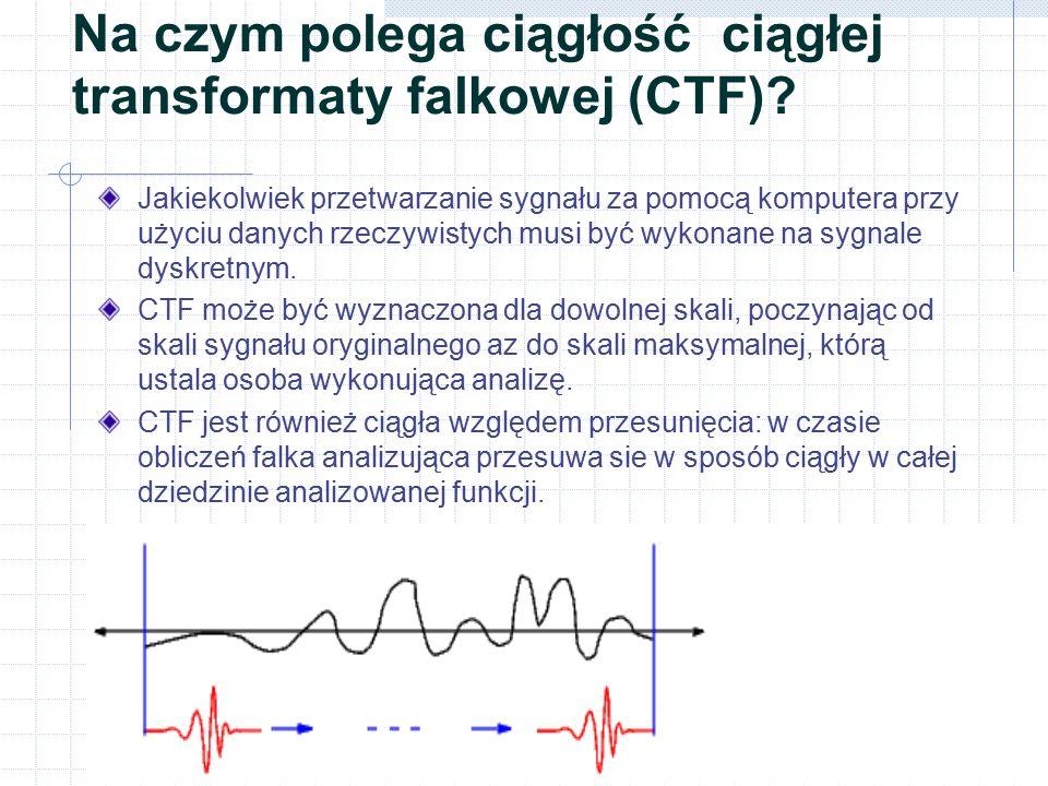 Na czym polega ciągłość ciągłej transformaty falkowej (CTF)? Jakiekolwiek przetwarzanie sygnału za pomocą komputera przy użyciu danych rzeczywistych m