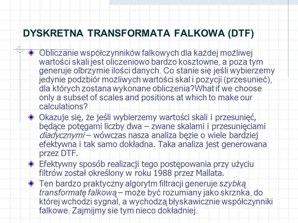 DYSKRETNA TRANSFORMATA FALKOWA (DTF) Obliczanie współczynników falkowych dla każdej możliwej wartości skali jest oliczeniowo bardzo kosztowne, a poza tym generuje olbrzymie ilości danych.