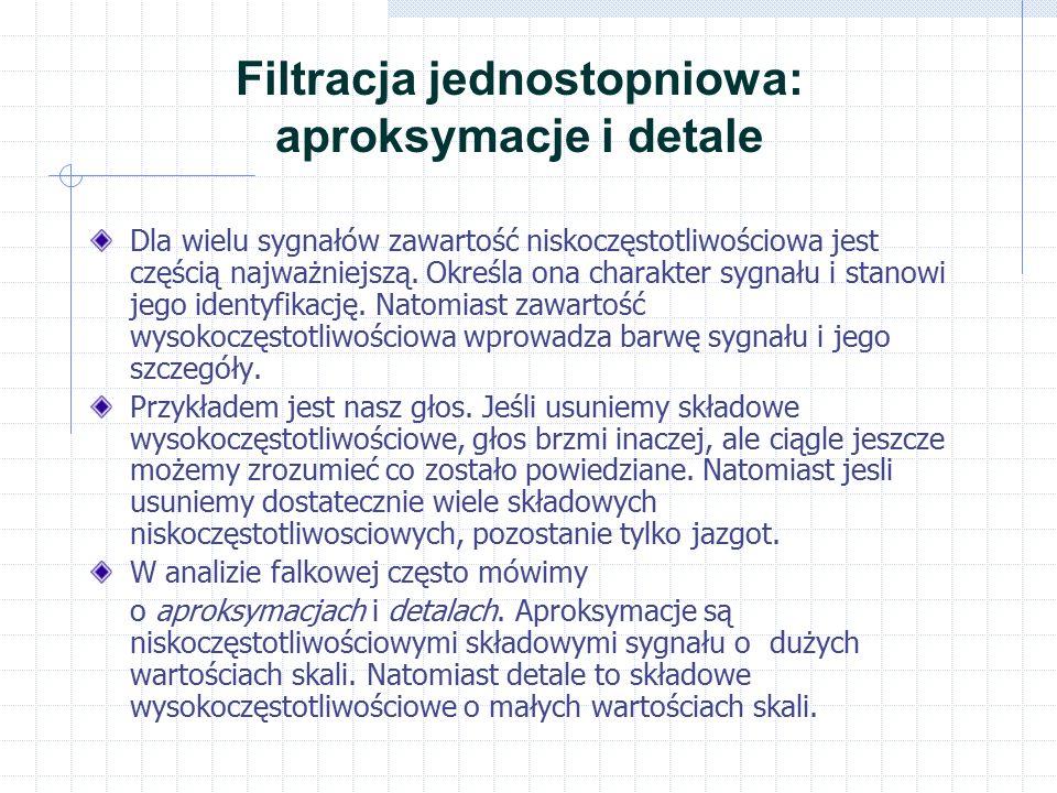 Filtracja jednostopniowa: aproksymacje i detale Dla wielu sygnałów zawartość niskoczęstotliwościowa jest częścią najważniejszą. Określa ona charakter