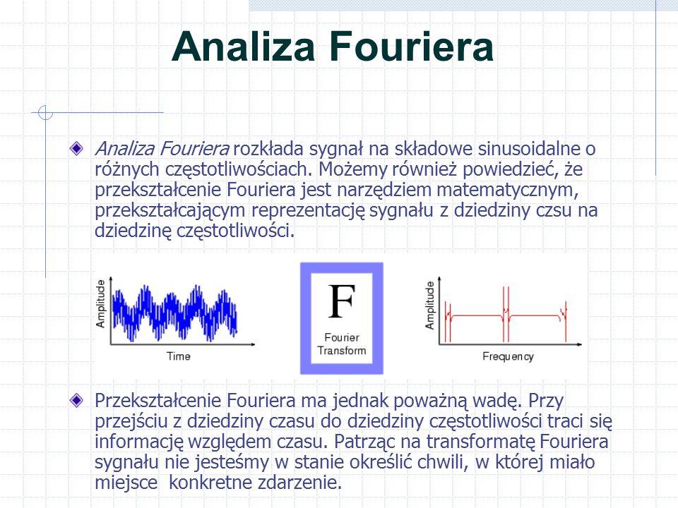 Analiza Fouriera Jeśli własności sygnału nie zmieniają sie w sposób istotny – to znaczy wówczas, gdy możemy go nazwać sygnałem stacjonarnym – wada ta nie jest bardzo istotna.