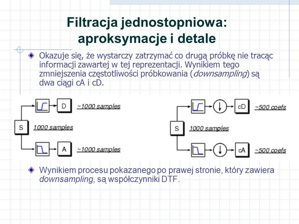 Filtracja jednostopniowa: aproksymacje i detale Okazuje się, że wystarczy zatrzymać co drugą próbkę nie tracąc informacji zawartej w tej reprezentacji.