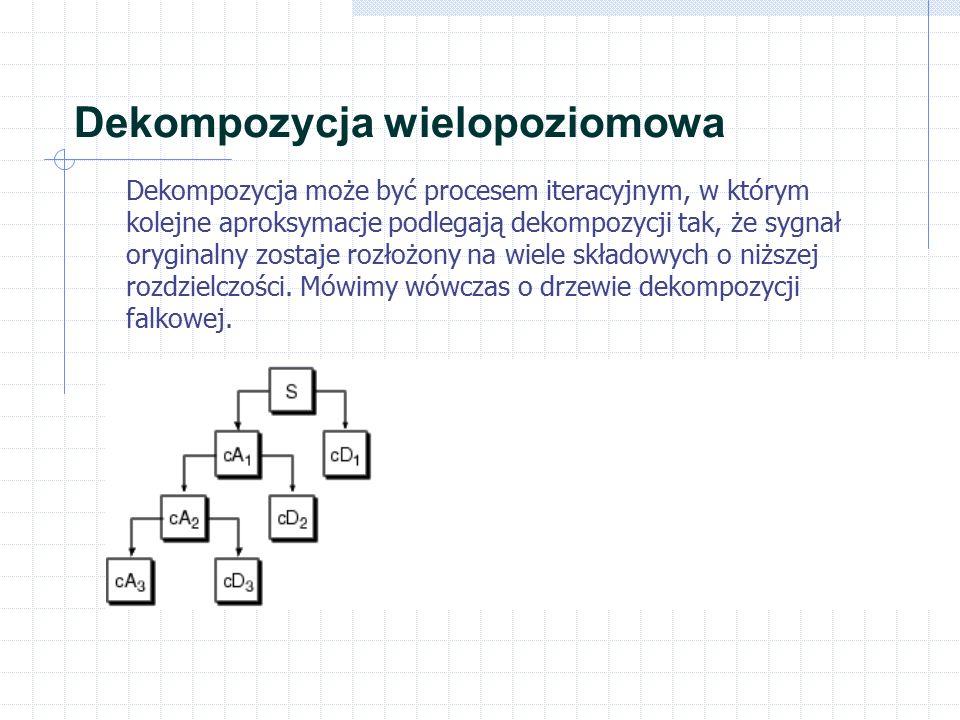 Dekompozycja wielopoziomowa Dekompozycja może być procesem iteracyjnym, w którym kolejne aproksymacje podlegają dekompozycji tak, że sygnał oryginalny zostaje rozłożony na wiele składowych o niższej rozdzielczości.