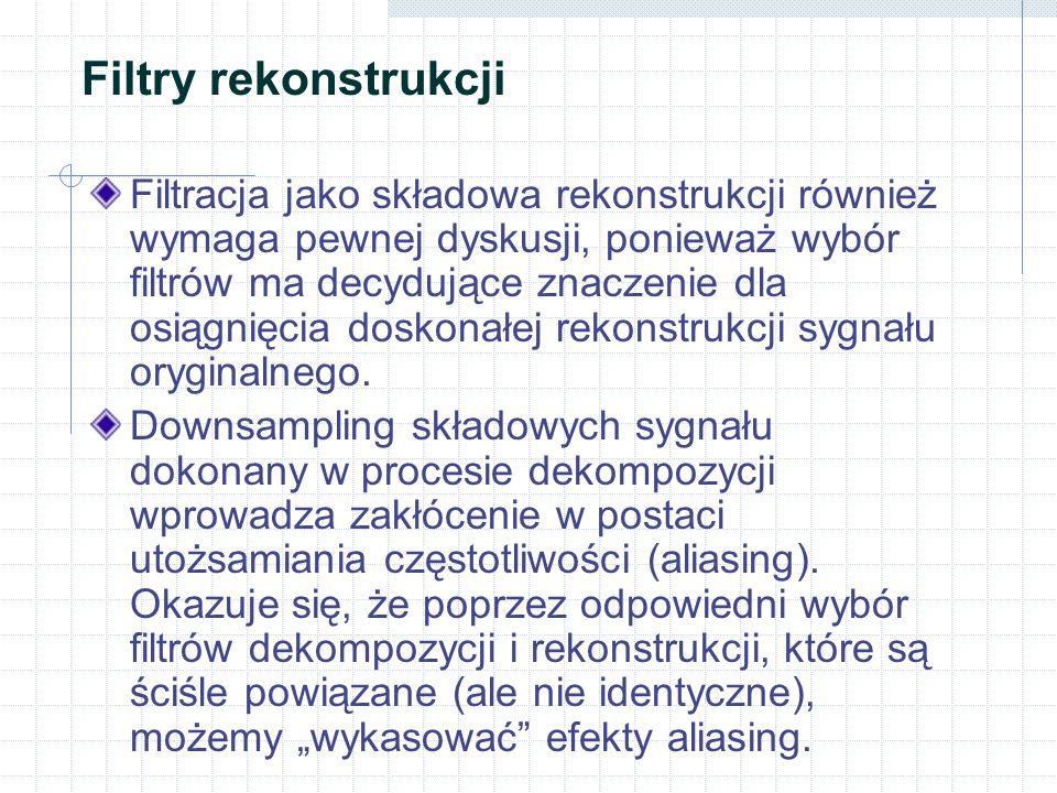 Filtry rekonstrukcji Filtracja jako składowa rekonstrukcji również wymaga pewnej dyskusji, ponieważ wybór filtrów ma decydujące znaczenie dla osiągnię