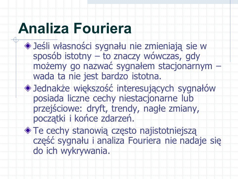 Analiza Fouriera Jeśli własności sygnału nie zmieniają sie w sposób istotny – to znaczy wówczas, gdy możemy go nazwać sygnałem stacjonarnym – wada ta