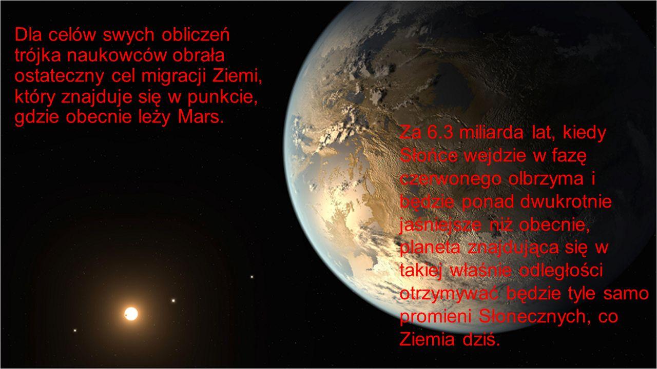 Dla celów swych obliczeń trójka naukowców obrała ostateczny cel migracji Ziemi, który znajduje się w punkcie, gdzie obecnie leży Mars. Za 6.3 miliarda