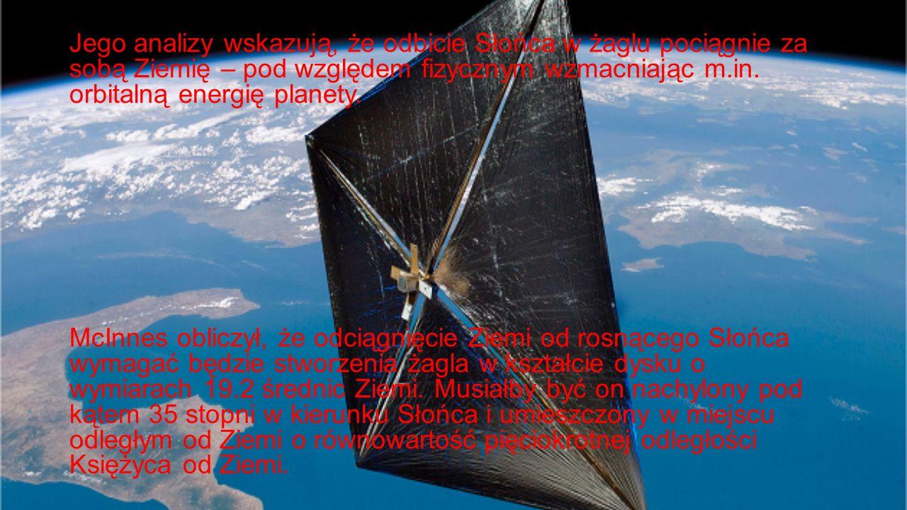 Jego analizy wskazują, że odbicie Słońca w żaglu pociągnie za sobą Ziemię – pod względem fizycznym wzmacniając m.in. orbitalną energię planety. McInne