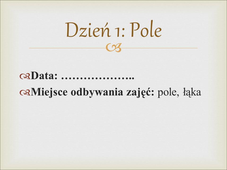   Data: ………………..  Miejsce odbywania zajęć: pole, łąka Dzień 1: Pole