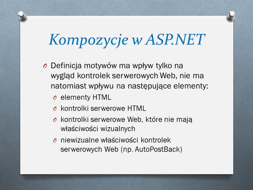 Kompozycje w ASP.NET O Definicja motywów ma wpływ tylko na wygląd kontrolek serwerowych Web, nie ma natomiast wpływu na następujące elementy: O elementy HTML O kontrolki serwerowe HTML O kontrolki serwerowe Web, które nie mają właściwości wizualnych O niewizualne właściwości kontrolek serwerowych Web (np.