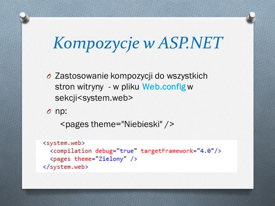 Kompozycje w ASP.NET O Zastosowanie kompozycji do wszystkich stron witryny - w pliku Web.config w sekcji O np: