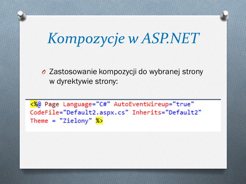 Kompozycje w ASP.NET O Zastosowanie kompozycji do wybranej strony w dyrektywie strony: