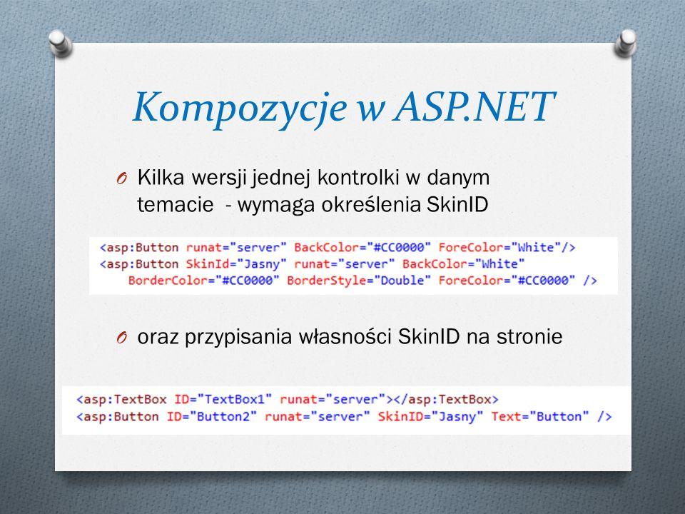 Kompozycje w ASP.NET O Kilka wersji jednej kontrolki w danym temacie - wymaga określenia SkinID O oraz przypisania własności SkinID na stronie
