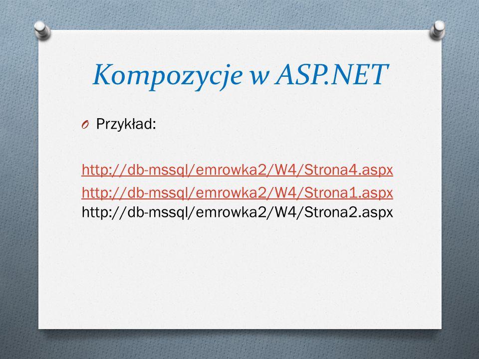 Kompozycje w ASP.NET O Przykład: http://db-mssql/emrowka2/W4/Strona4.aspx http://db-mssql/emrowka2/W4/Strona1.aspx http://db-mssql/emrowka2/W4/Strona1.aspx http://db-mssql/emrowka2/W4/Strona2.aspx