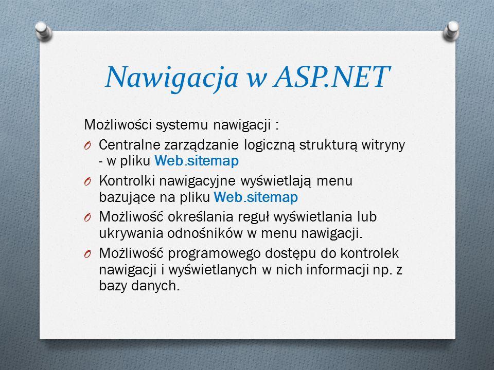Nawigacja w ASP.NET Możliwości systemu nawigacji : O Centralne zarządzanie logiczną strukturą witryny - w pliku Web.sitemap O Kontrolki nawigacyjne wyświetlają menu bazujące na pliku Web.sitemap O Możliwość określania reguł wyświetlania lub ukrywania odnośników w menu nawigacji.