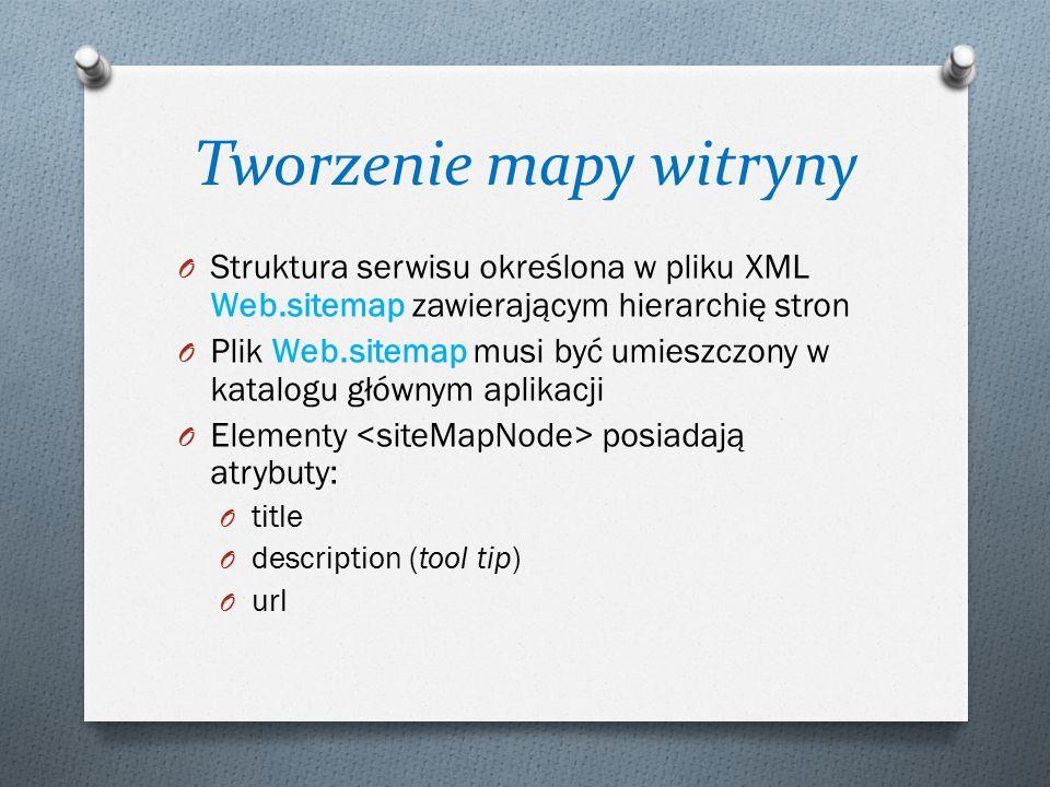 Tworzenie mapy witryny O Struktura serwisu określona w pliku XML Web.sitemap zawierającym hierarchię stron O Plik Web.sitemap musi być umieszczony w k