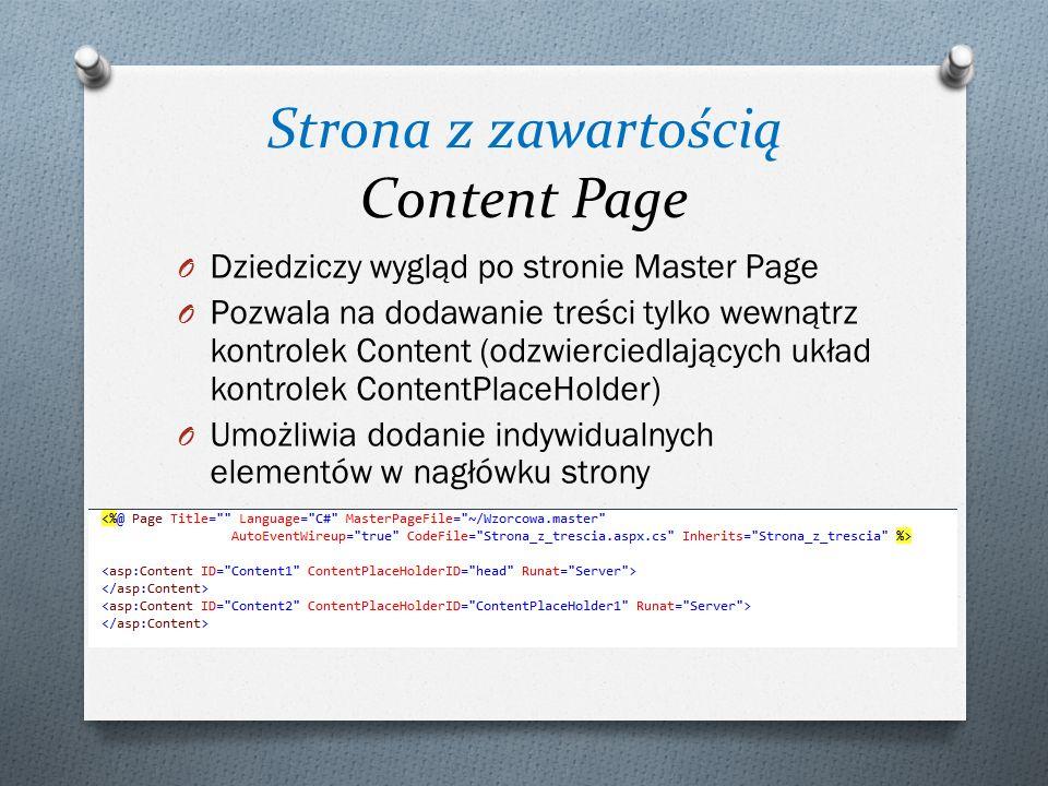Strona z zawartością Content Page O Dziedziczy wygląd po stronie Master Page O Pozwala na dodawanie treści tylko wewnątrz kontrolek Content (odzwierciedlających układ kontrolek ContentPlaceHolder) O Umożliwia dodanie indywidualnych elementów w nagłówku strony