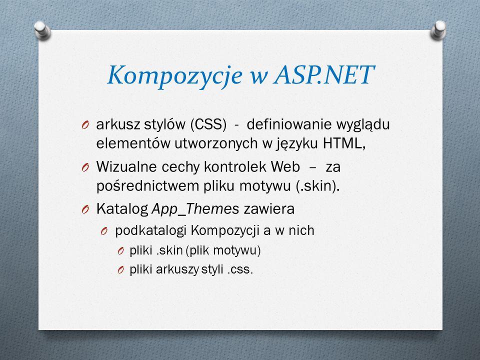 Kompozycje w ASP.NET O arkusz stylów (CSS) - definiowanie wyglądu elementów utworzonych w języku HTML, O Wizualne cechy kontrolek Web – za pośrednictwem pliku motywu (.skin).