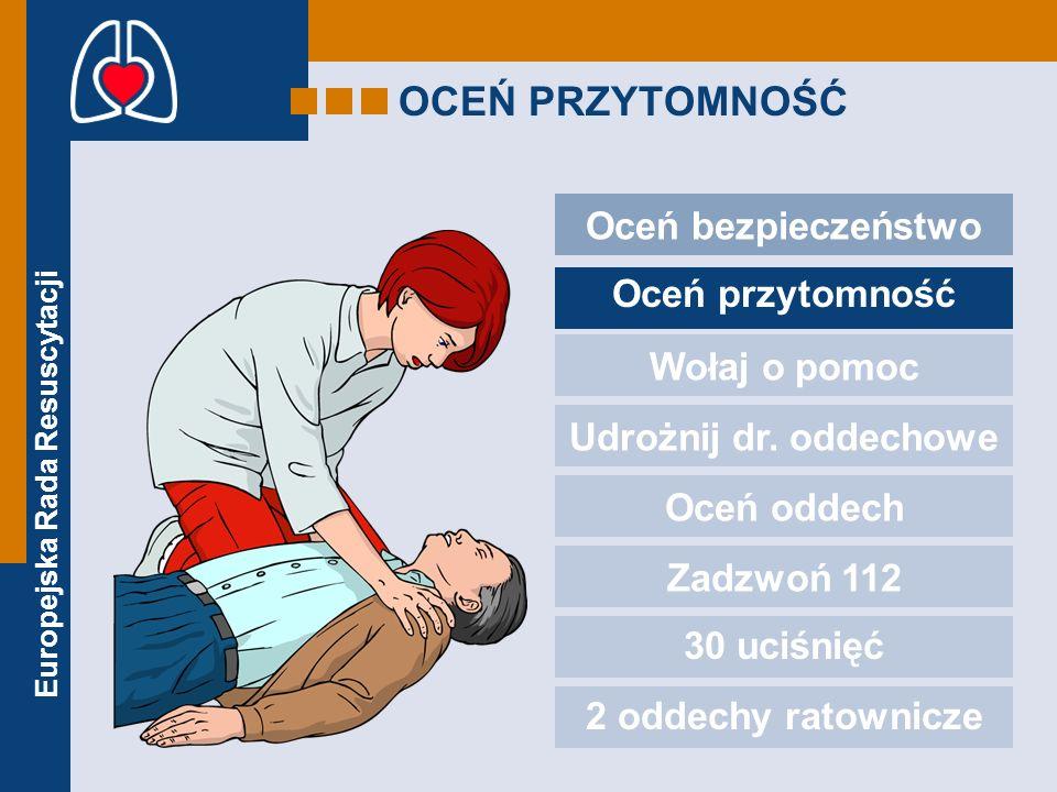 Europejska Rada Resuscytacji OCEŃ PRZYTOMNOŚĆ Oceń bezpieczeństwo Oceń przytomność Wołaj o pomoc Udrożnij dr. oddechowe Oceń oddech Zadzwoń 112 30 uci