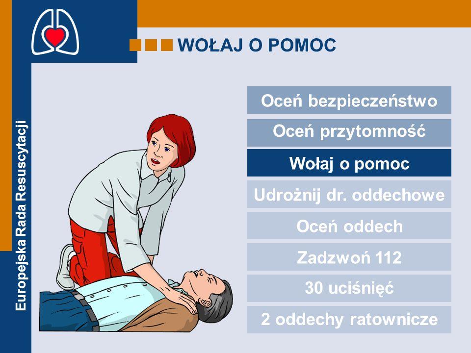 Europejska Rada Resuscytacji WOŁAJ O POMOC Oceń bezpieczeństwo Oceń przytomność Wołaj o pomoc Udrożnij dr. oddechowe Oceń oddech Zadzwoń 112 30 uciśni