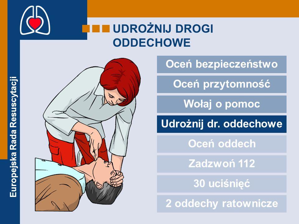 Europejska Rada Resuscytacji UDROŻNIJ DROGI ODDECHOWE Oceń bezpieczeństwo Oceń przytomność Wołaj o pomoc Udrożnij dr. oddechowe Oceń oddech Zadzwoń 11
