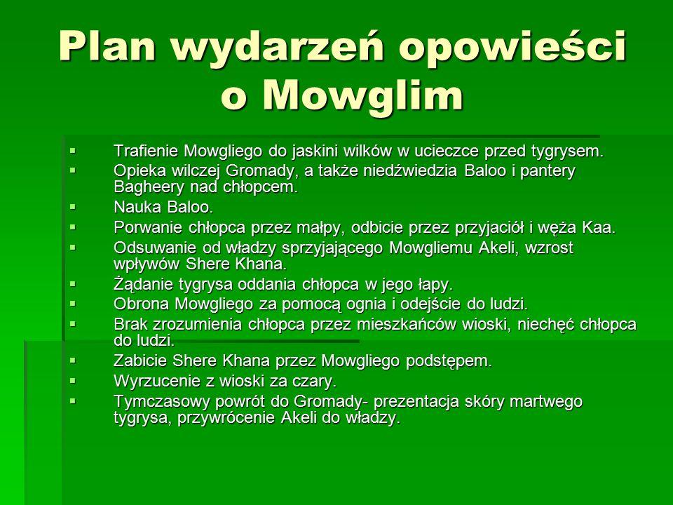 Plan wydarzeń opowieści o Mowglim  Trafienie Mowgliego do jaskini wilków w ucieczce przed tygrysem.