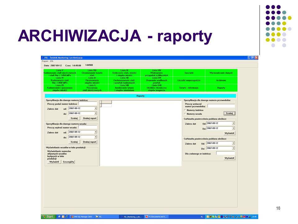 18 ARCHIWIZACJA - raporty