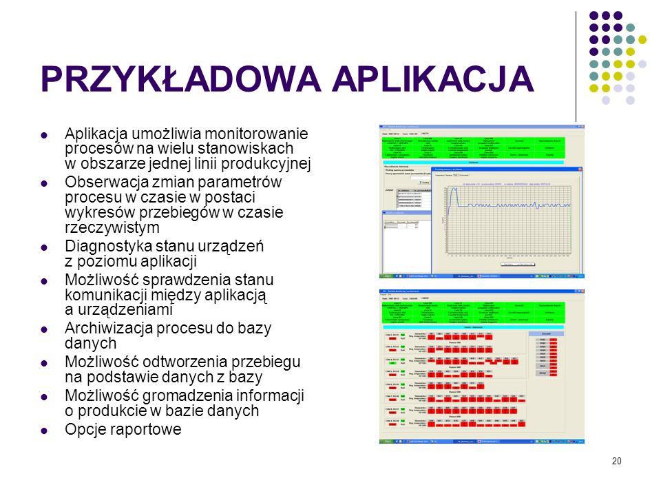 20 PRZYKŁADOWA APLIKACJA Aplikacja umożliwia monitorowanie procesów na wielu stanowiskach w obszarze jednej linii produkcyjnej Obserwacja zmian parametrów procesu w czasie w postaci wykresów przebiegów w czasie rzeczywistym Diagnostyka stanu urządzeń z poziomu aplikacji Możliwość sprawdzenia stanu komunikacji między aplikacją a urządzeniami Archiwizacja procesu do bazy danych Możliwość odtworzenia przebiegu na podstawie danych z bazy Możliwość gromadzenia informacji o produkcie w bazie danych Opcje raportowe