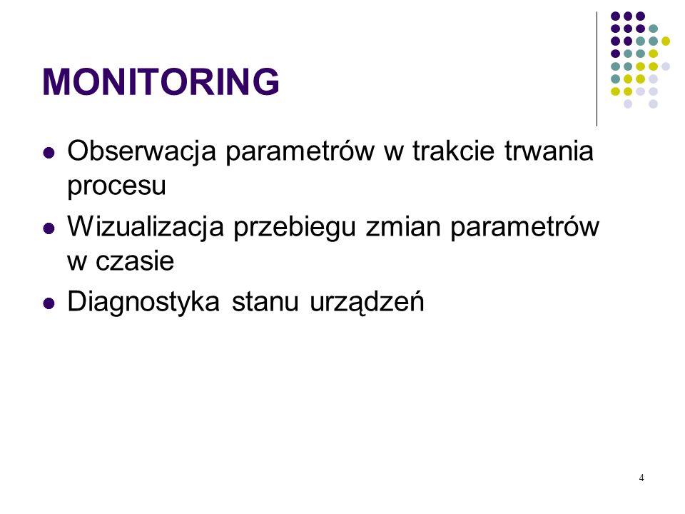 4 MONITORING Obserwacja parametrów w trakcie trwania procesu Wizualizacja przebiegu zmian parametrów w czasie Diagnostyka stanu urządzeń