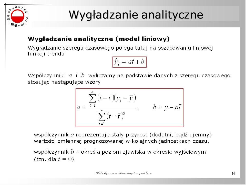 Statystyczna analiza danych w praktyce 14 Wygładzanie analityczne