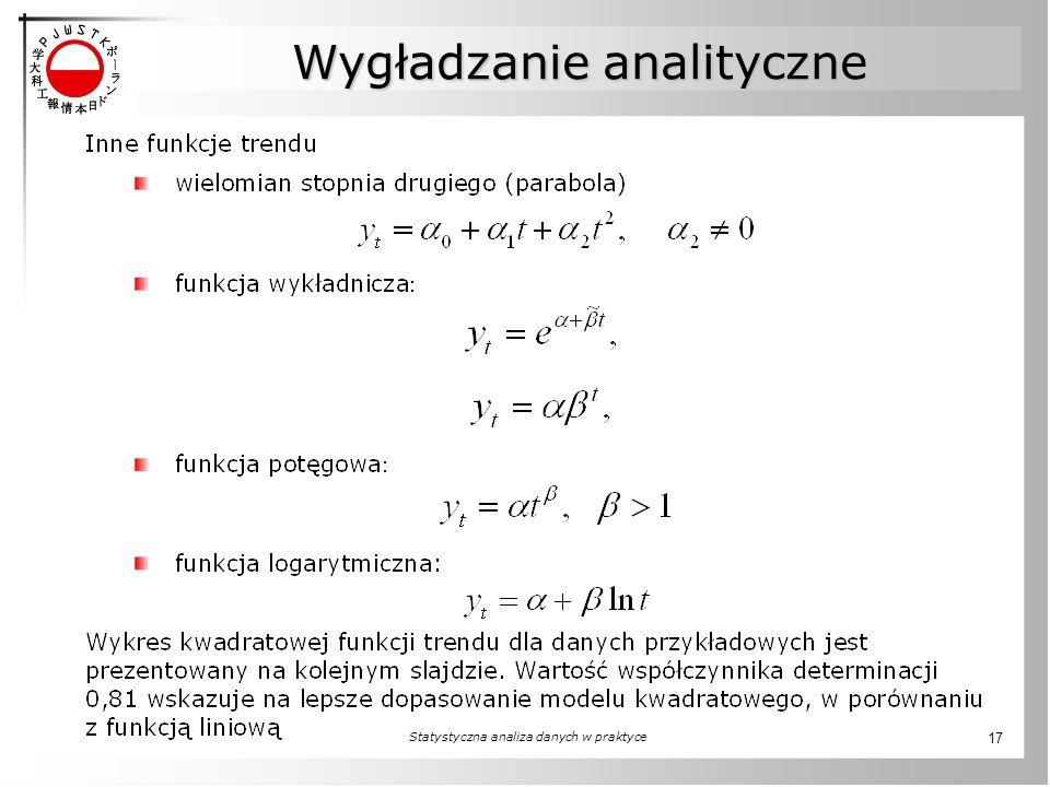Statystyczna analiza danych w praktyce 17 Wygładzanie analityczne