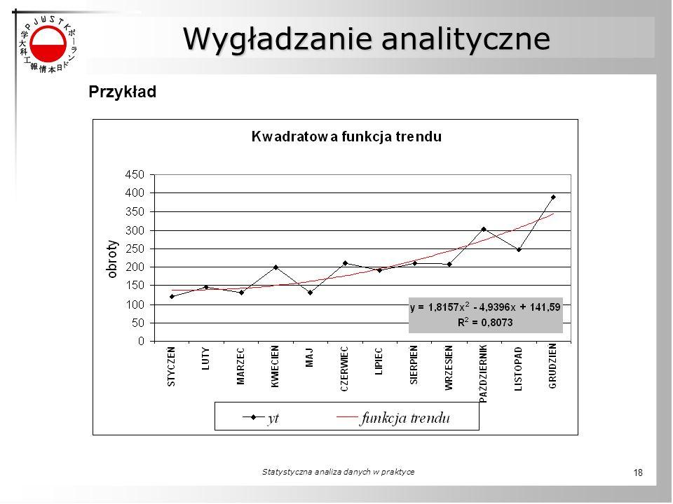 Statystyczna analiza danych w praktyce 18 Przykład Wygładzanie analityczne