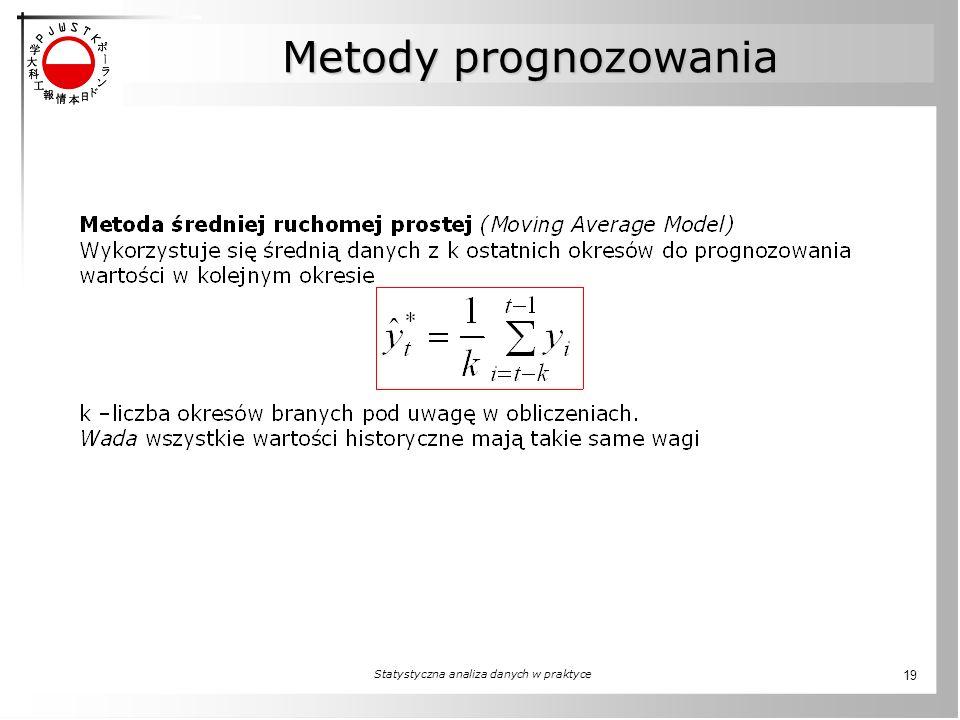 Statystyczna analiza danych w praktyce 19 Metody prognozowania