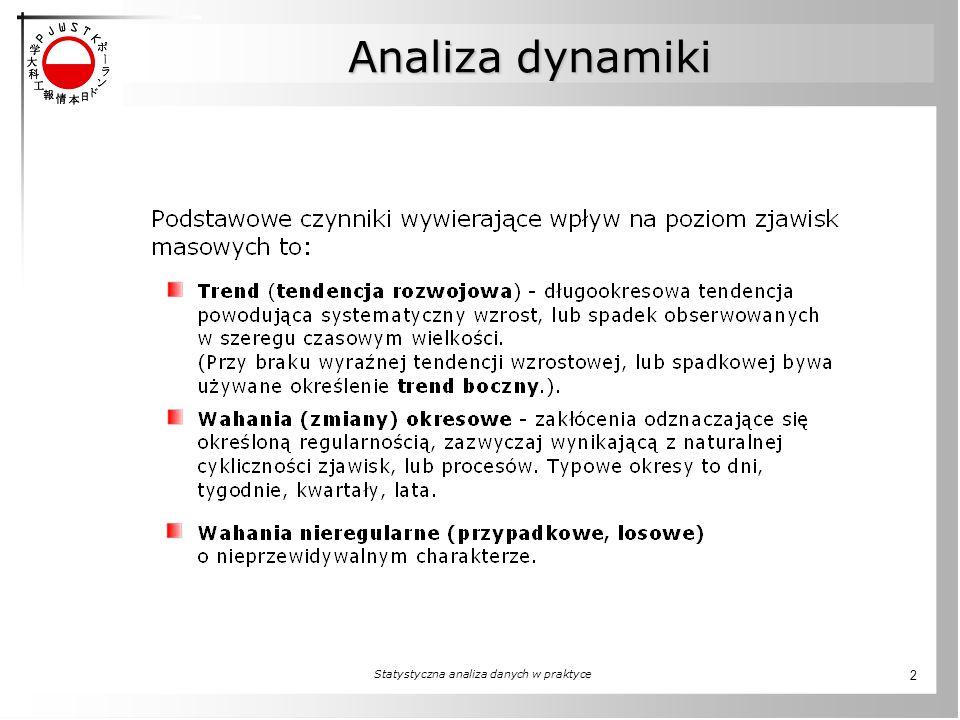 Statystyczna analiza danych w praktyce 2 Analiza dynamiki