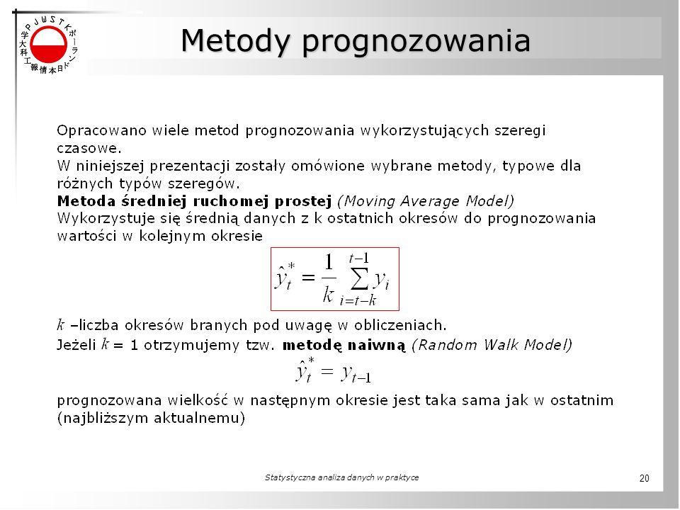 Statystyczna analiza danych w praktyce 20 Metody prognozowania