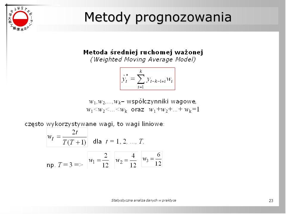 Statystyczna analiza danych w praktyce 23 Metody prognozowania