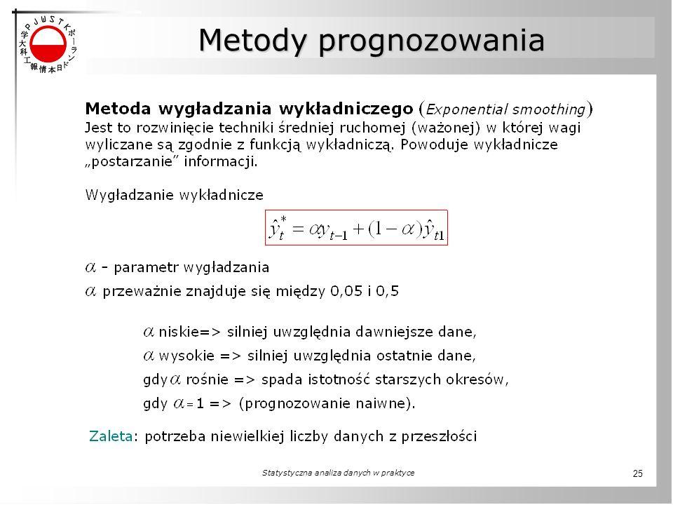 Statystyczna analiza danych w praktyce 25 Metody prognozowania