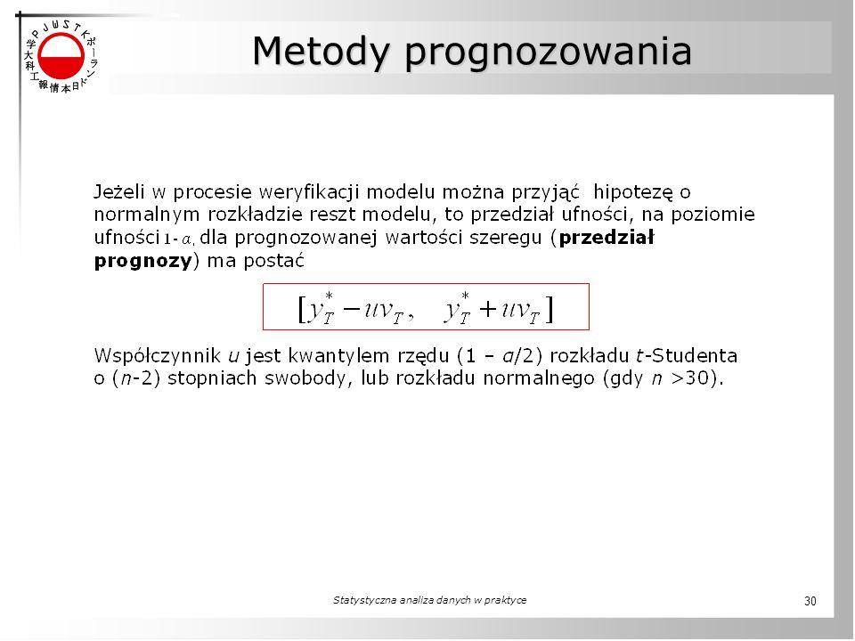 Statystyczna analiza danych w praktyce 30 Metody prognozowania