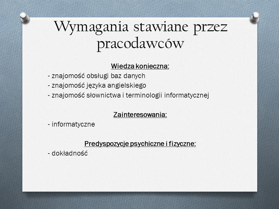 Wiedza konieczna: - znajomość obsługi baz danych - znajomość języka angielskiego - znajomość słownictwa i terminologii informatycznej Zainteresowania: