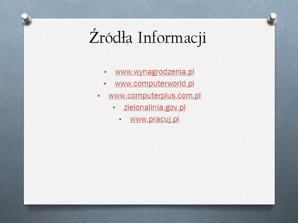 Ź ródła Informacji www.wynagrodzenia.pl www.computerworld.pl www.computerplus.com.pl zielonalinia.gov.pl www.pracuj.pl