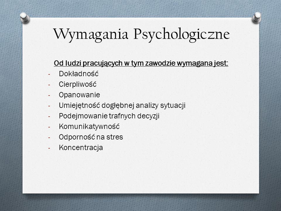 Wymagania Psychologiczne Od ludzi pracujących w tym zawodzie wymagana jest: - Dokładność - Cierpliwość - Opanowanie - Umiejętność dogłębnej analizy sy