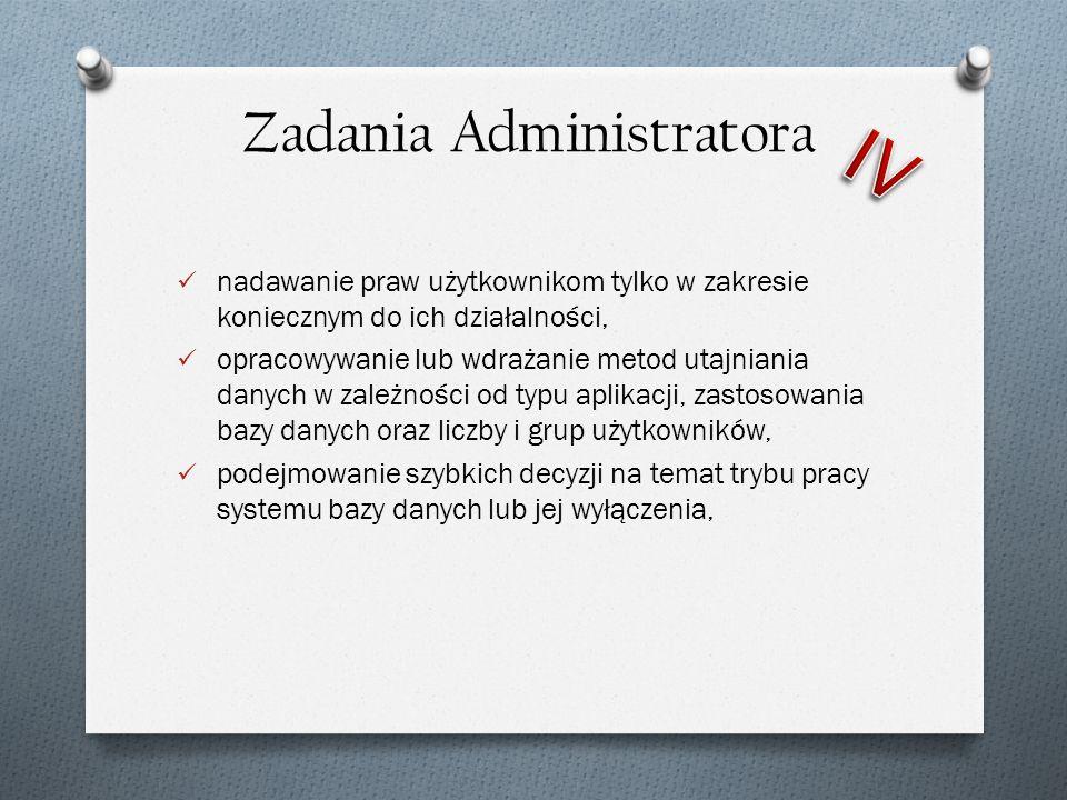 nadawanie praw użytkownikom tylko w zakresie koniecznym do ich działalności, opracowywanie lub wdrażanie metod utajniania danych w zależności od typu