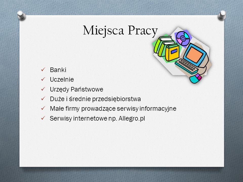 Banki Uczelnie Urzędy Państwowe Duże i średnie przedsiębiorstwa Małe firmy prowadzące serwisy informacyjne Serwisy internetowe np. Allegro.pl Miejsca