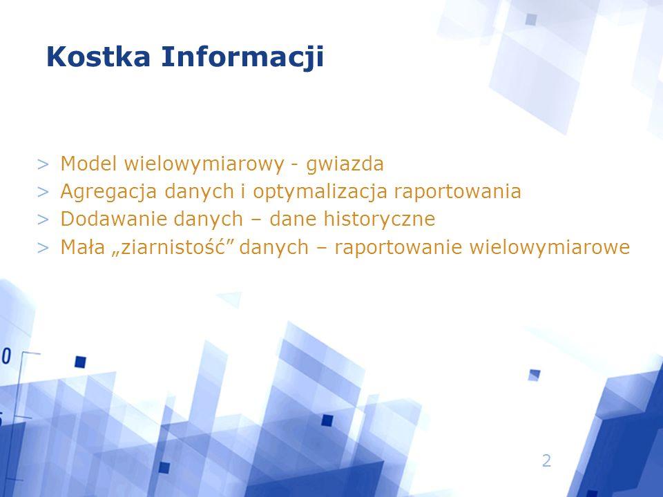 """2 >Model wielowymiarowy - gwiazda >Agregacja danych i optymalizacja raportowania >Dodawanie danych – dane historyczne >Mała """"ziarnistość danych – raportowanie wielowymiarowe Kostka Informacji"""