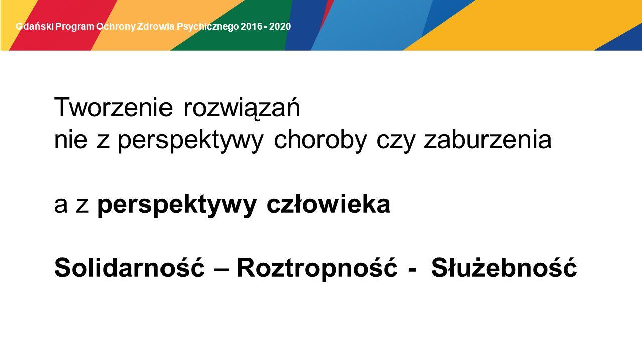 Gdański Program Ochrony Zdrowia Psychicznego 2016 - 2020 Tworzenie rozwiązań nie z perspektywy choroby czy zaburzenia a z perspektywy człowieka Solidarność – Roztropność - Służebność