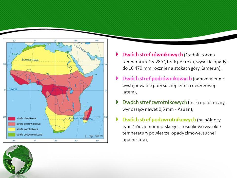  Dwóch stref równikowych (średnia roczna temperatura 25-28°C, brak pór roku, wysokie opady - do 10 470 mm rocznie na stokach góry Kamerun),  Dwóch stref podrównikowych (naprzemienne występowanie pory suchej - zimą i deszczowej - latem),  Dwóch stref zwrotnikowych ( niski opad roczny, wynoszący nawet 0,5 mm - Asuan),  Dwóch stref podzwrotnikowych (na północy typu śródziemnomorskiego, stosunkowo wysokie temperatury powietrza, opady zimowe, suche i upalne lata),