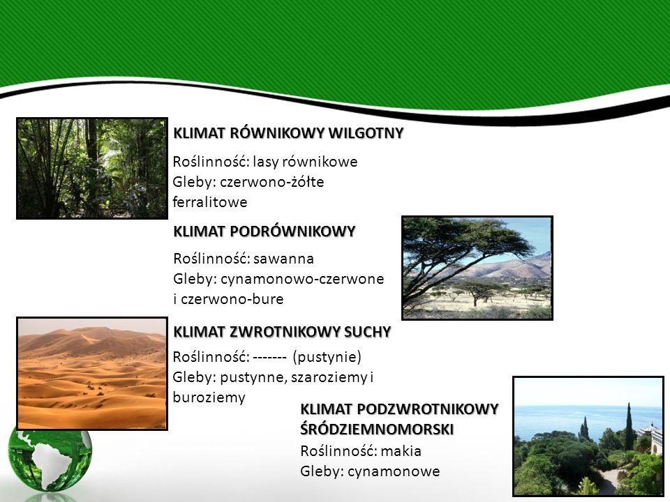 KLIMAT RÓWNIKOWY WILGOTNY Roślinność: lasy równikowe Gleby: czerwono-żółte ferralitowe KLIMAT PODRÓWNIKOWY Roślinność: sawanna Gleby: cynamonowo-czerwone i czerwono-bure KLIMAT ZWROTNIKOWY SUCHY Roślinność: ------- (pustynie) Gleby: pustynne, szaroziemy i buroziemy KLIMAT PODZWROTNIKOWY ŚRÓDZIEMNOMORSKI Roślinność: makia Gleby: cynamonowe