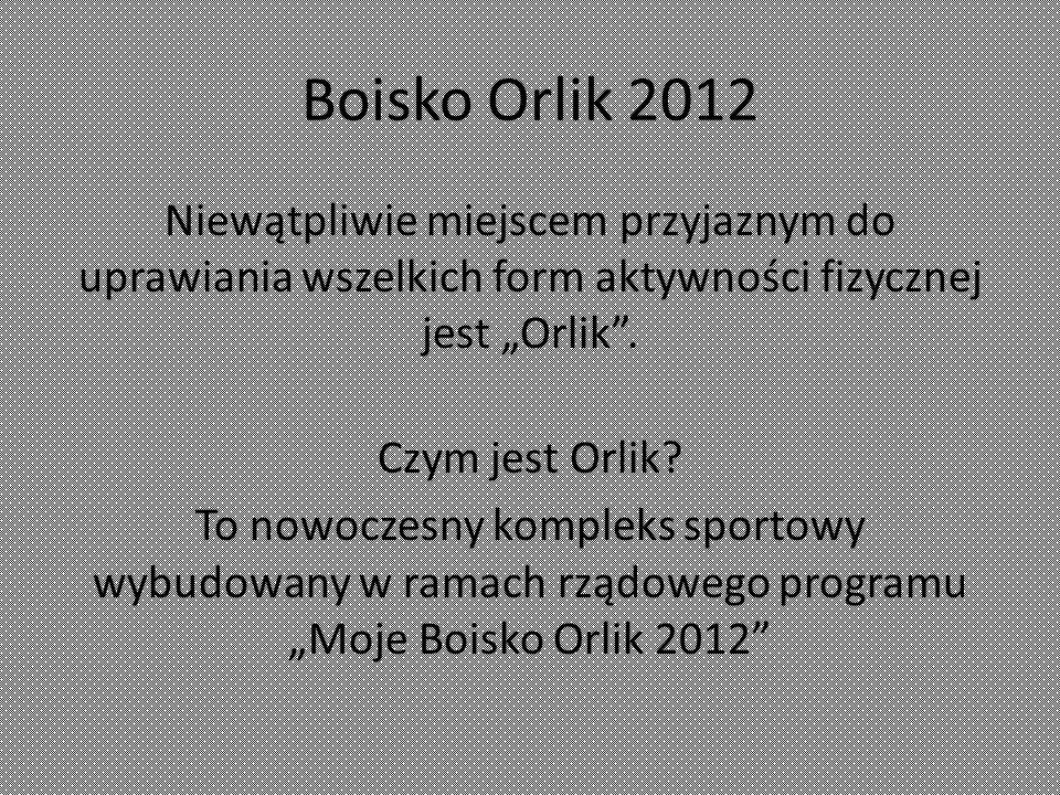 """Boisko Orlik 2012 Niewątpliwie miejscem przyjaznym do uprawiania wszelkich form aktywności fizycznej jest """"Orlik ."""