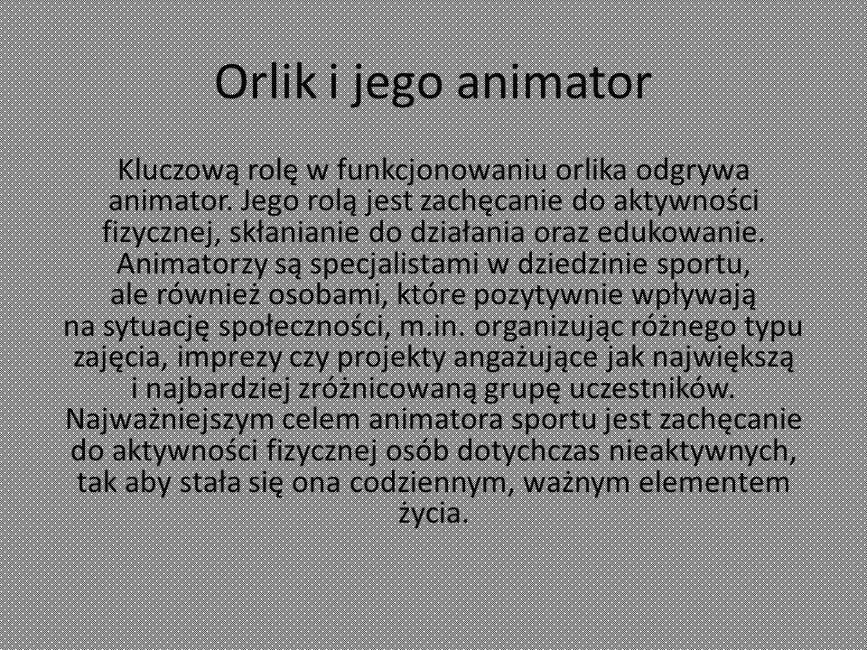 Orlik i jego animator Kluczową rolę w funkcjonowaniu orlika odgrywa animator.