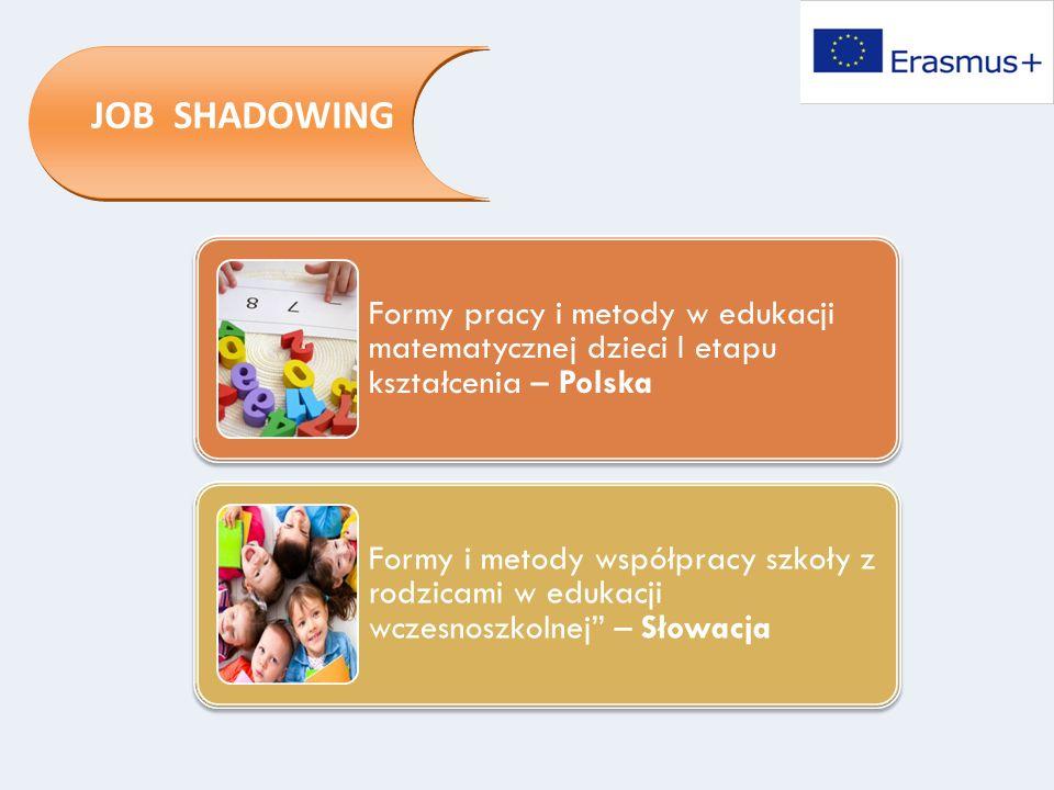 JOB SHADOWING Formy pracy i metody w edukacji matematycznej dzieci I etapu kształcenia – Polska Formy i metody współpracy szkoły z rodzicami w edukacj